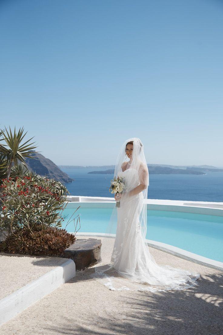 Bridal Wear, Pool, Villa, Venue, Style, Elegance, Lace, All White, Santorini Weddings