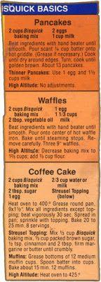 Memere's Favorite Recipes: 3 Bisquick Box Recipes.