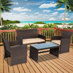 Best Choice Products 4pc Wicker Outdoor Patio Furniture Set Cushioned Seats - Kmart