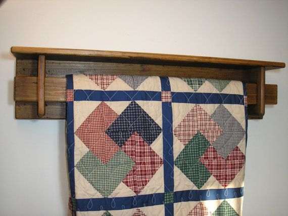 Reclaimed wood - 4 foot quilt rack with shelf   [TC95-4]