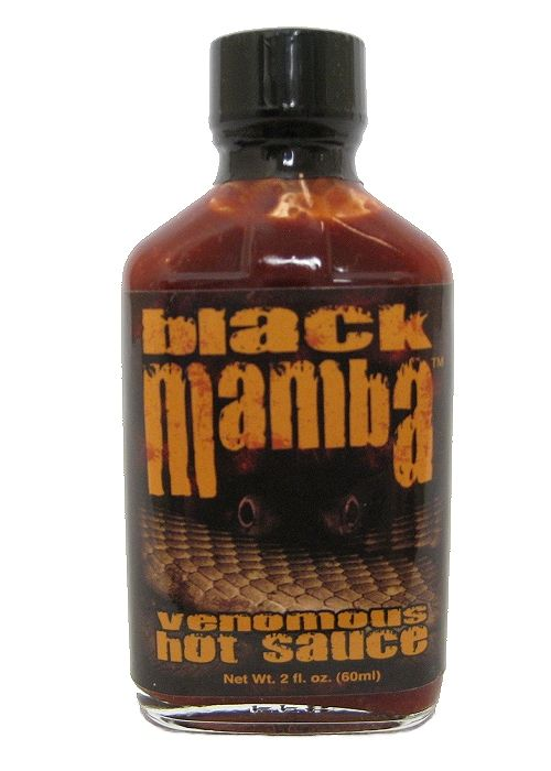 Black Mamba Extreme Venomous Hot Sauce is named after one of the deadliest snakes on the planet. Made with only 3 ingredients (chocolate habanero peppers, vinegar & Capsaicin extract), beware of Black Mamba's bite! A little bit, i.e., a microdrop, goes a long way. As with its namesake, handle with extreme care. Buy on sale for $12.98 here: http://www.carolinasauces.com/Black_Mamba_Hot_Sauce_p/1553.htm