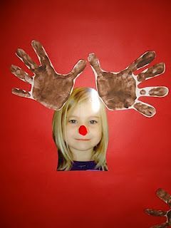 Is it Rudolf? - Hand print antlers and photographs of faces.