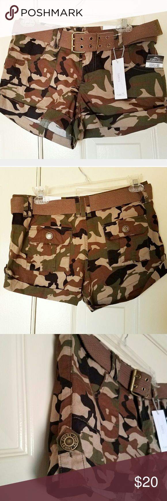 NEW Army Camo Shorts Cute Summer Casual 5/6 rue21 Super cute army camouflage print shorts. Size: 5/6 with brown belt. Front and back pockets.  New with tags.  #shorts #army #Summer #camo Rue 21 Shorts Cargos