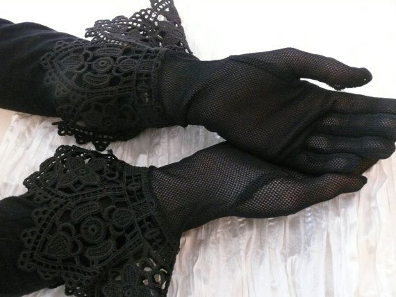 These Black Vintage Lace Gloves would complete any Steam punk lady's attire.