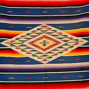 Saltillo Serape Old Mexican Blanket Blue (item #827267)