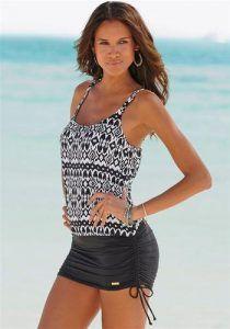 Bademode günstig kaufen | LASCANA Damen Badeanzug-Kleid schwarz / weiß | 04893848537298