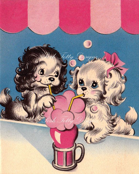 Puppy Love Over Soda Vintage Greetings Card by poshtottydesignz