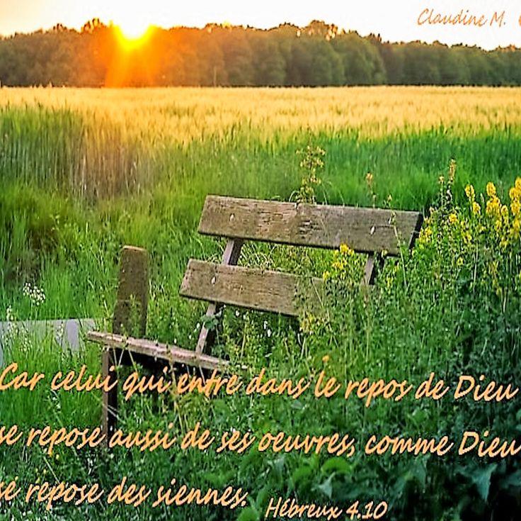 Pas beaucoup de repos dans cette vie ! Le repos qui nous est promis est celui de DIEU, un repos de paix et de tranquillité lorsque nous sommes en communion avec LUI. Notre tâche consiste à persévérer jusqu'à la fin de notre séjour ici-bas en prenant CHRIST pour modèle.  Je vous souhaite une bonne matinée reposante pour votre âme. ♥  https://plus.google.com/u/0/+ClaudineMichau45/posts