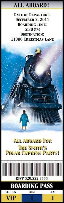 POLAR EXPRESS Party Movie Ticket Invitation  by poshtique on Etsy, $8.00