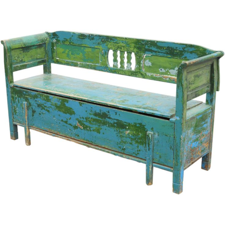 circa 1880 Scandinavian bench with original blue over green paint.