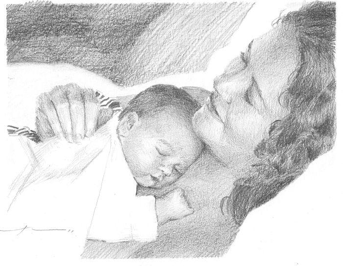 Картинки мамы и ребенка карандашом, делать