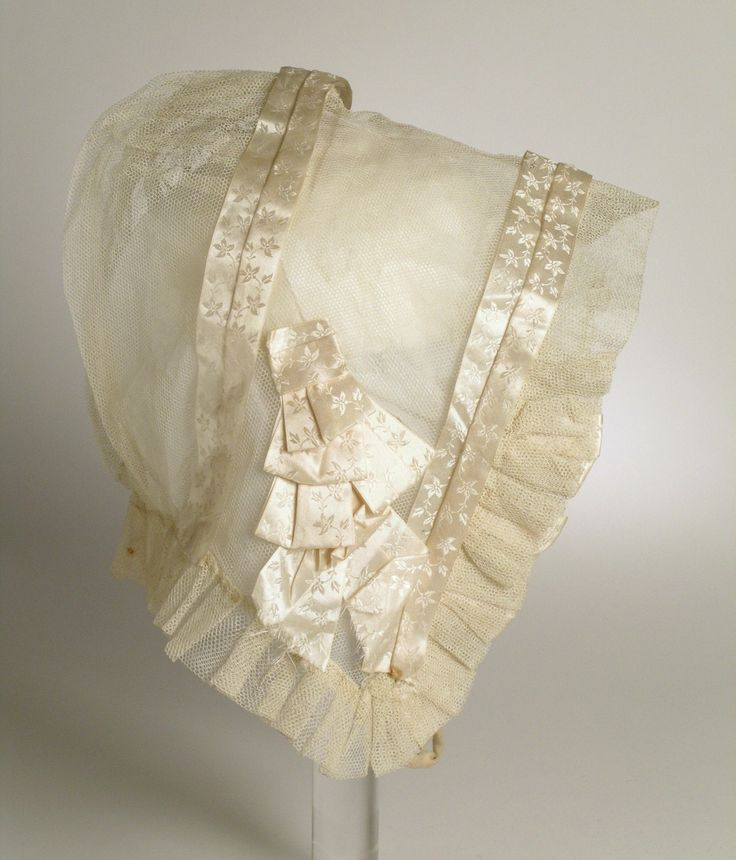 Cap: ca. 1825, American, net, satin ribbon.
