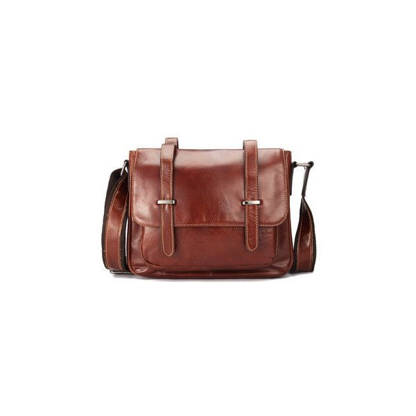 Ekphero Leather Crossbody Bag ($60) ❤ liked on Polyvore featuring men's fashion, men's bags, men's messenger bags, red brown, mens leather messenger bag and mens brown leather messenger bag