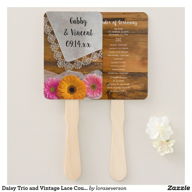 Daisy Trio and Vintage Lace Country Wedding Hand Fan Give your guests the order of your marriage ceremony with the charming Daisy Trio and Vintage Lace Country Wedding Program Fan. Perfect for your rustic chic rural ranch or farm nuptials, this casual yet classy wedding fan features a quaint floral photograph two pink gerber daisies and one orange daisy with a white bridal veil and vintage lace trimmed hankie and a brown barn wood background. #barnwedding #weddingfans