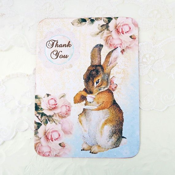 Rabbit Note Cards Blank Note Cards Thank You by EnchantedQuilling