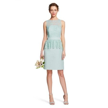 Women's Scalloped Lace Sleeveless Bridesmaid Dress with Peplum - bridesmaid dress has a high scoop neck and a sleeveless cut. It has a stunning lace overlay with a ribbon waistline and pretty peplum. This peplum bridesmaid dress hits just above the knee and has a back half-length zipper closure. Fully lined with back vent and back darts. Mint, light green , light blue
