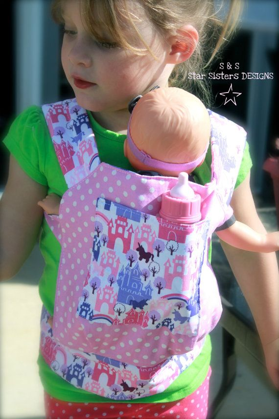 Just Like Mommy Baby Doll Carrier for Kids in Pink & Purple Princess Castles