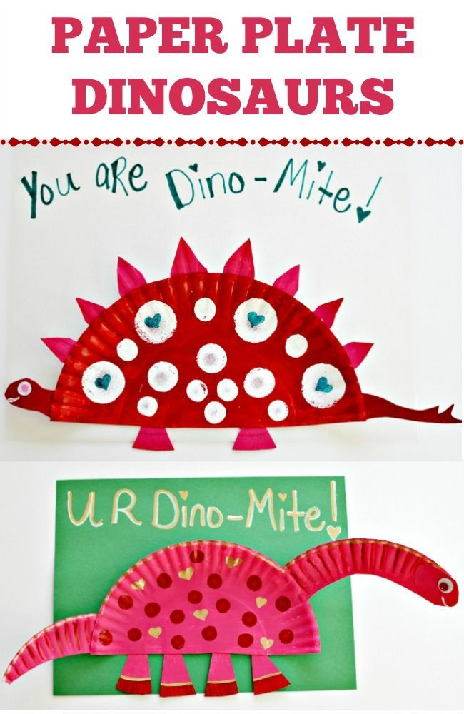 Paper Plate Dinosaurs! I love these little kids art projects. They are fun for homemade Valentine's Ideas. Templates on how to cut the paper plates too!