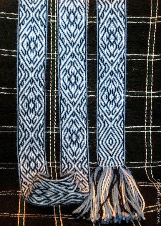 """Купить Тканый на дощечках пояс """"Мечта"""" - голубой, тканый пояс, ткачество на дощечках, русский стиль"""
