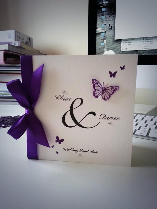 Beautiful butterfly themed wedding invitations with hand finished detail by Joanne Creates