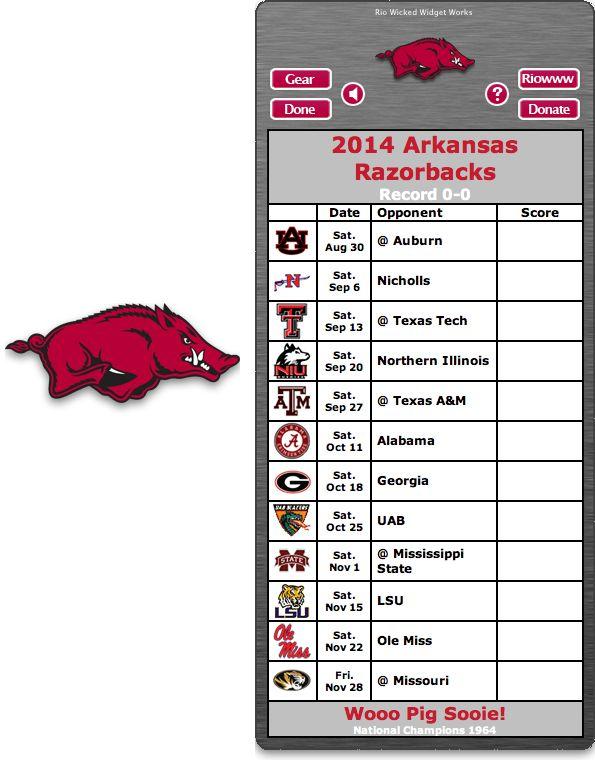 Free 2014 Arkansas Razorbacks Football Schedule Widget for Mac OS X - Wooo Pig Sooie! - National Champions 1964  http://riowww.com/teamPages/Arkansas_Razorbacks.htm