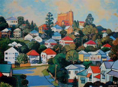 Another beautiful Jan Jorgensen. Looking up towards St Brigid's Red Hill.
