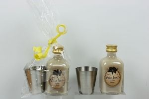 Licor crema Chupito metal envuelto en celofan para detalle boda bautizos comuniones #Grandetalles