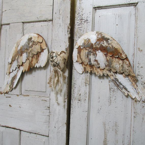 Distressed Santos angel wings and heart large metal white rusted peeling wall decor aged urban farmhouse home decor anita spero