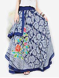 retro mode katoen + hennep batik borduurwerk roos patroon multilayer onregelmatige lange jurken (random structuur patroon)