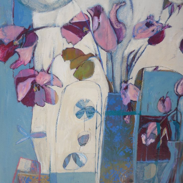 """""""Still Life with HIstrionic"""", acrylic and collage on canvas. Tiffany Logan"""