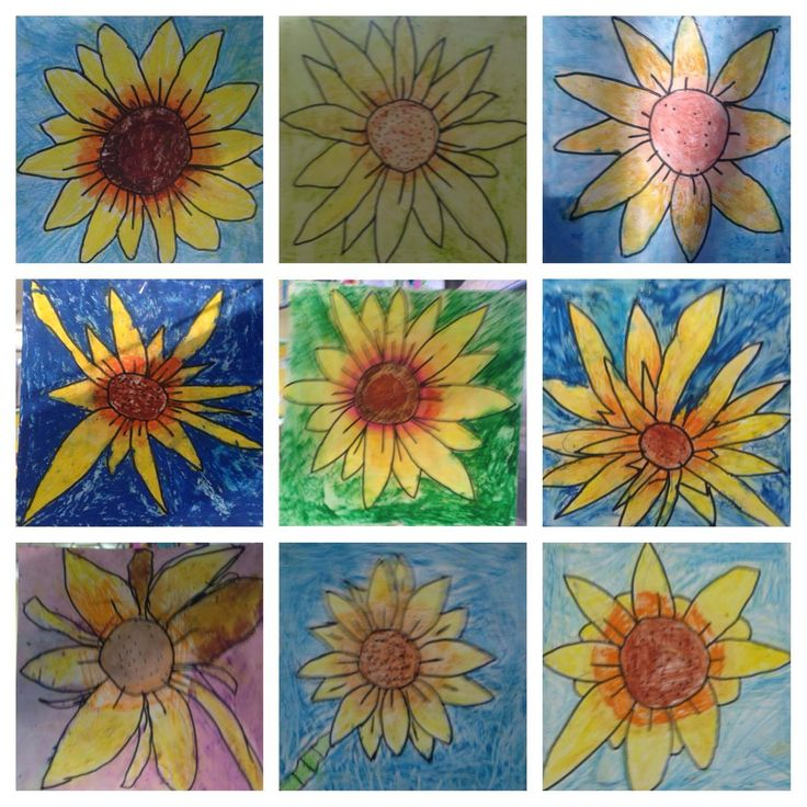 Grade 1/2 Van Gogh inspired sunflowers