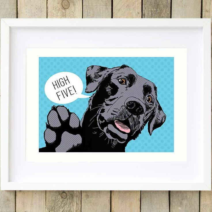 Sending you a virtual high five via my latest print... my new black Labrador pop art print with blue dotty background #blacklab #labrador #popart #dogart #dogs #retro #spotty #paws #dog #animals