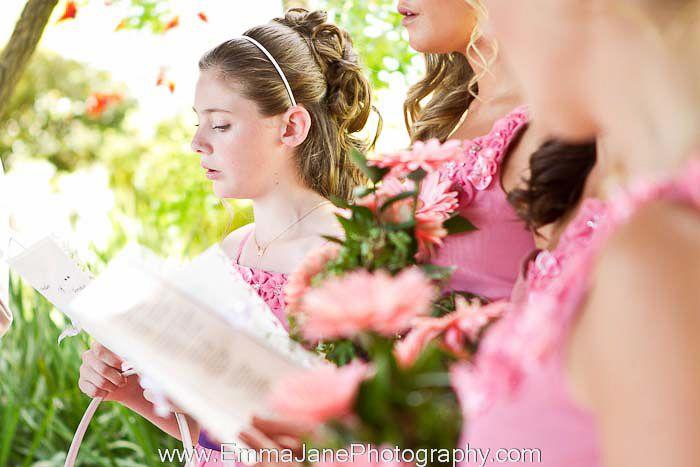 Bridesmaids during ceremony