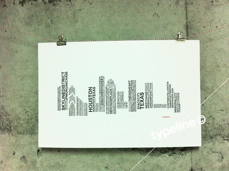 Houston Skyline - Texas City Skyline - Typography - Print - 11x17. $27.00, via Etsy.
