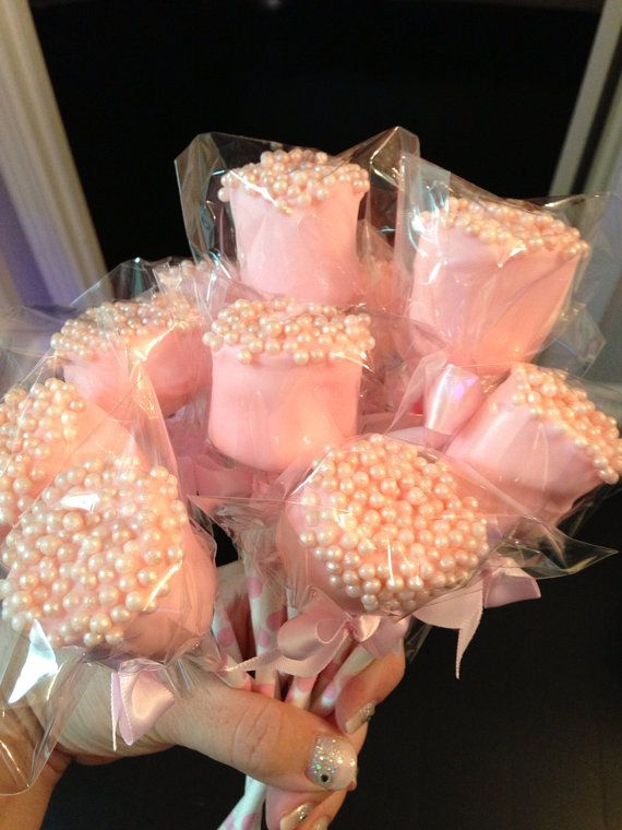 Edible chocolate dipped Marshmallows frost the cake  on Etsy, $24.00