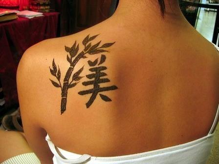 Trendy Chinese Tattoo On Back    #china #chinese #tattoo #girl