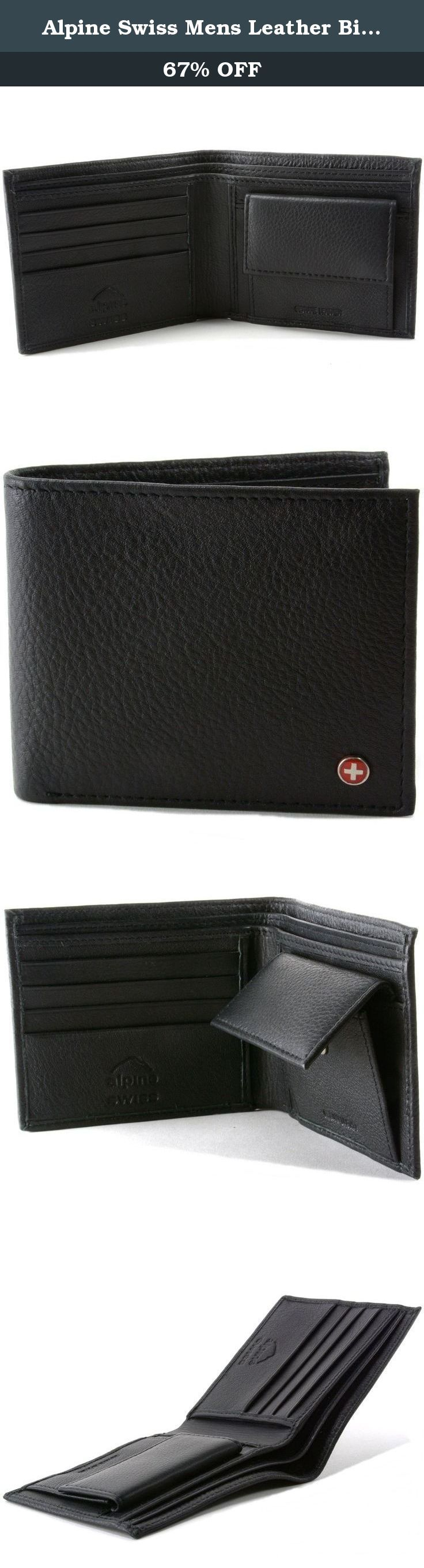 Alpine Swiss Mens Leather Bifold Wallet with Coin Pocket Purse Pouch & 2 Bill Sections. Alpine Swiss Mens Leather Bifold Wallet with Coin Pocket Purse Pouch & 2 Bill Sections.