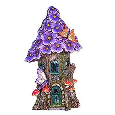 Solar Powered Illuminated Fairy House / Dwelling Garden Ornament in a Tree Trunk with Purple Flowers and Butterfly