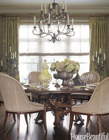 Dining Room by Barry Dixon:     The dining room of this Maryland house is a textbook Barry Dixon design with naturalistic textures and shapes. Niermann Weeks Avignon chandelier; Swaim dining chairs in Bergamo's Siegfried fabric; Barcelona table by Panache Designs.
