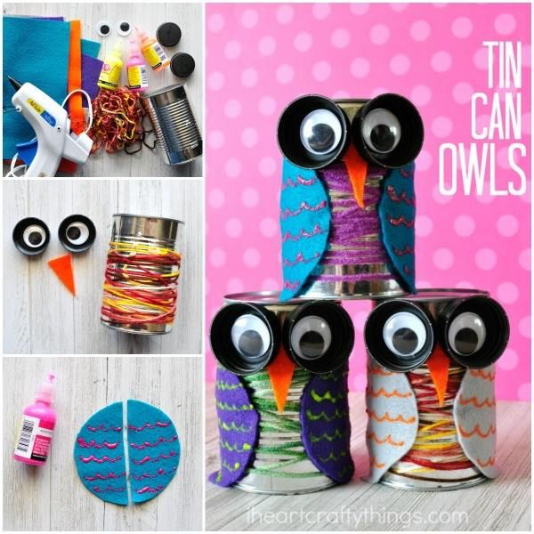 How seriously cute and fun are these Tin Can Owls? LOVE them. I can think of so many uses - from decor, to pen pots..