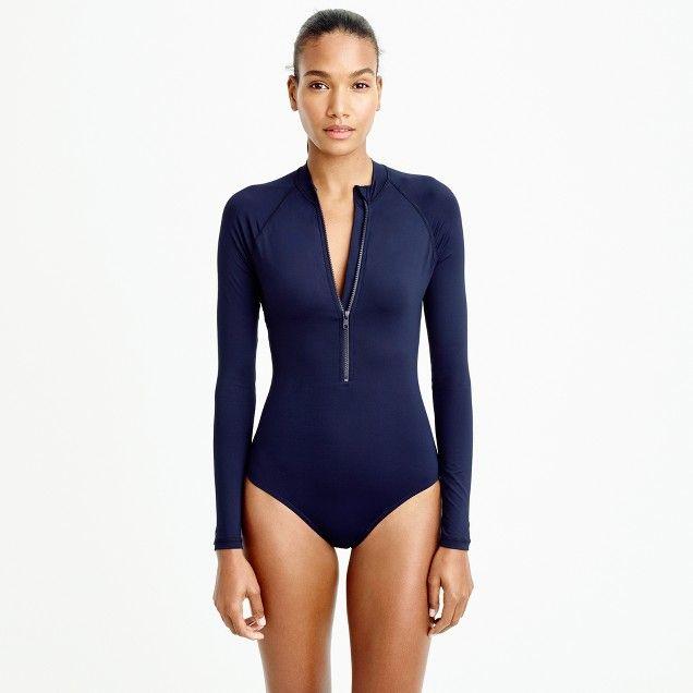 Zip-up long-sleeve swimsuit