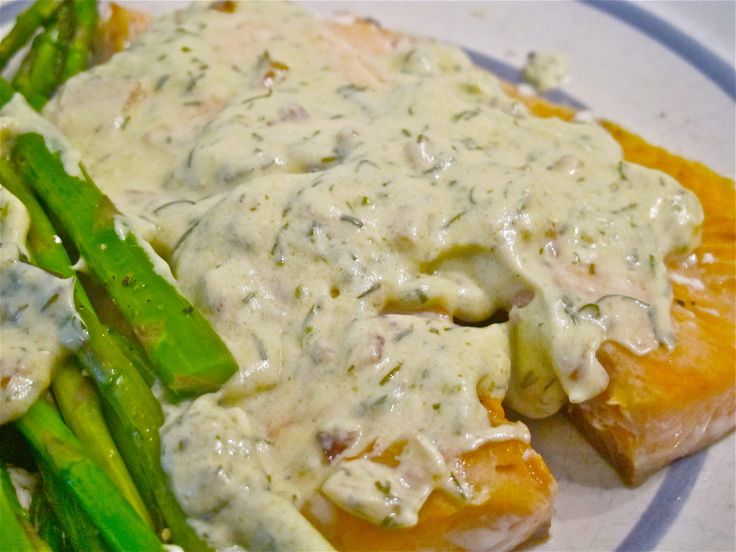 A typical sour cream and dill sauce for salmon is amped up with sauteed shallots and Dijon mustard. You can eat the sauce with a spoon, or pour it over your whole dinner.