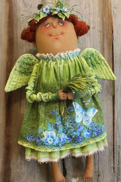 Купить Ангел. Изумрудные травы... - зеленый, текстильная кукла, ароматизированная кукла, интерьерная кукла, ангел