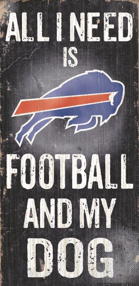 Buffalo Bills Football and Dog Wood Sign [NEW] NCAA Man Cave Den Wall #BuffaloBills