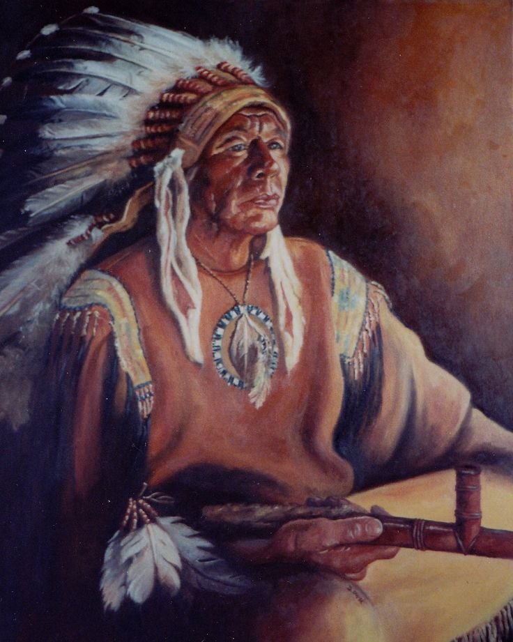 the chief - Artist Denise Ellison Oil on Canvas inspired by dances with wolves (NFS)
