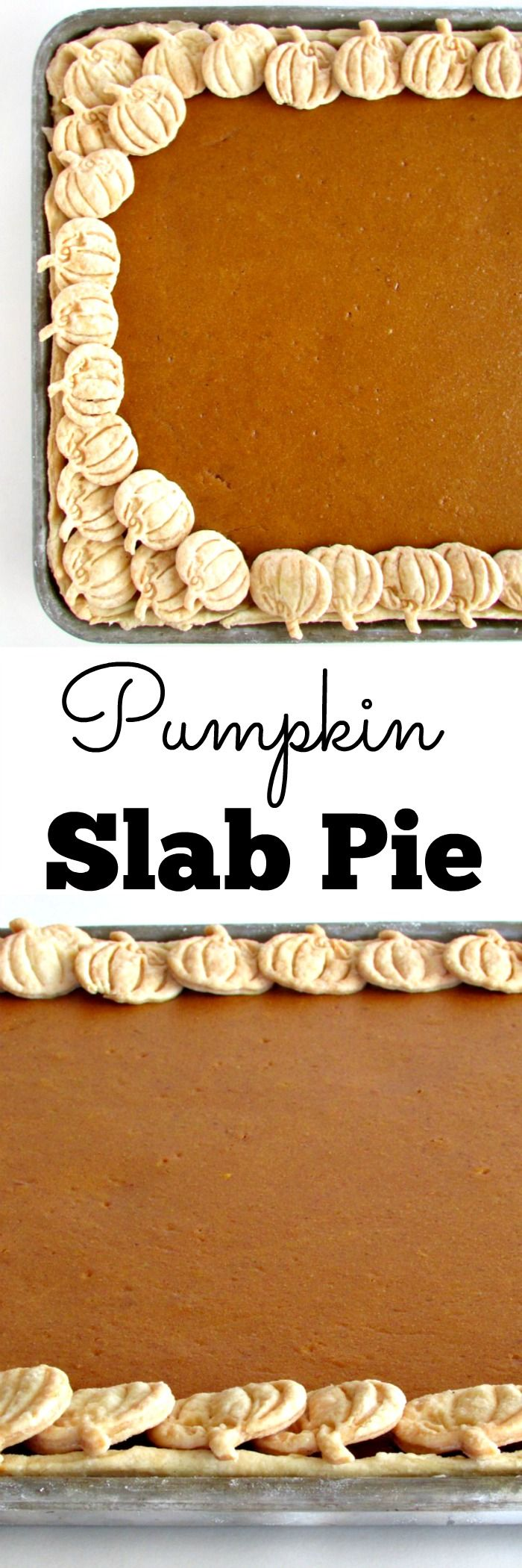 Pumpkin Slab Pie - This pie is amazing because it has MORE CRUST than regular pumpkin pie. Also, it's simpler to make than regular pumpkin pie, and those pumpkin crust cut outs are so easy if you just have the right tool! | www.louloubiscuit.com