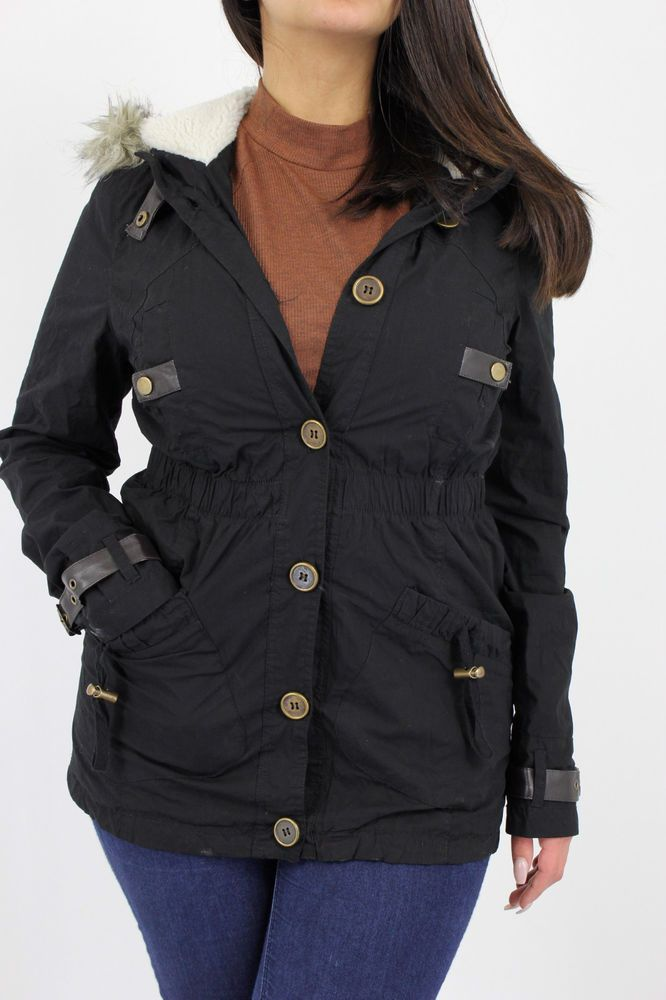Ladies Parka Jacket Sakura Womens Coat Khakhi Black Fish Tail Coats Hood Quilted