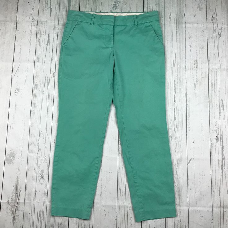 J Crew womens 2 green cotton stretch Café Capri cropped skinny pants style 57064 #JCREW #CaprisCropped