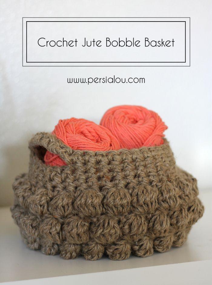 Jute Bobble Basket - Free Crochet Pattern by Persia Lou