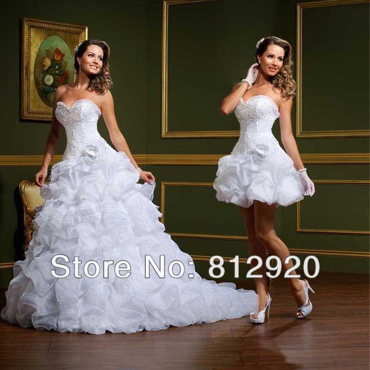 A-line Charming Elegant Two 2 Pieces Sweetheart Organza Ruffles vestido de noiva Detachable Skirt Wedding Dress $179.00